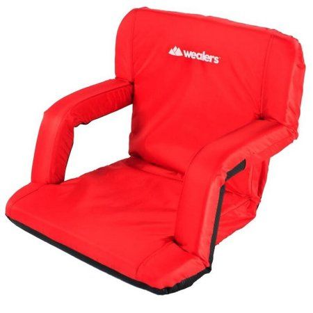 Wealers Padded Cushion Recliner Beach Chair, 6 Reclining Positions, with Armrests, Great for Camping or for Stadium Seats, Easy to Carry with Adjustable Backpack-style Shoulder Straps - Walmart.com
