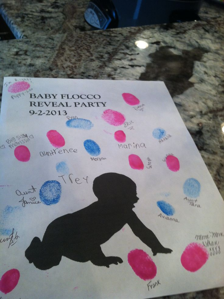 gender reveal sign in sheet  have the guests stamp their