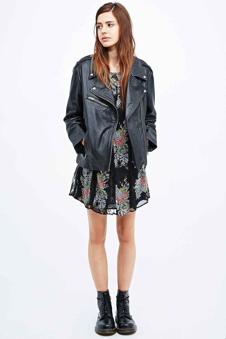 Pins & Needles Leather Biker Jacket in Black - Urban Outfitters