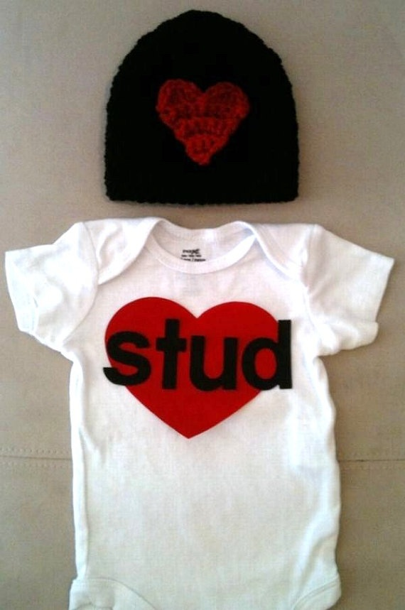 Valentineu0026#39;s Day Outfit For Baby Boys Stud Onesie By RbsDesigns $34.00 | Baby Stuff | Pinterest ...