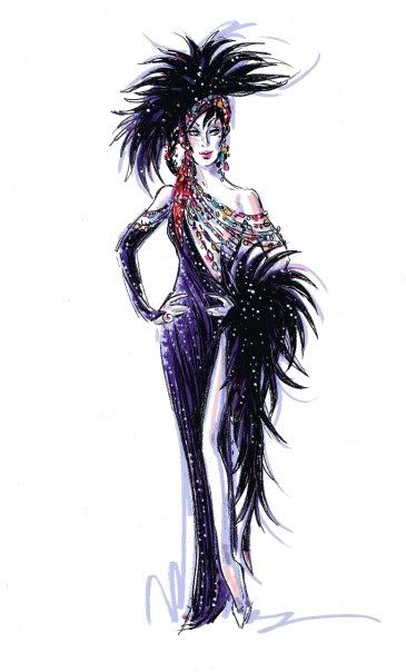 Bob Mackie Cher Costumes | Bob Mackie's Sketches of the new Costumes!! in Cher at The Colosseum ...