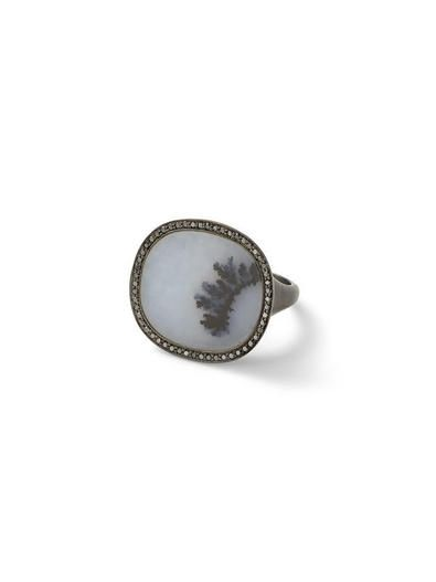 Dendritic Agate Ring with Black Diamonds