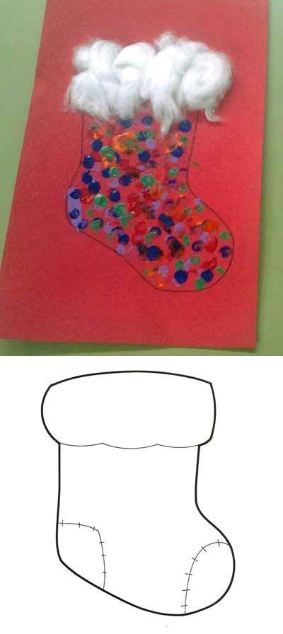 Manualidadesconmishijas: Bota de navidad realizadas con huellas de dedos y algodón. Molde. christmas template boot