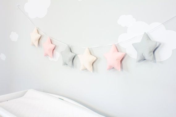 Puffy stars are strung onto a ribbon creating a banner for an easy wall decoration in your nursery. Various shades of pink and gray stars.  Each star is between 6 1/2 and 7 inches wide and strung onto ribbon. Total length is approximately 5 1/2 feet with two loops at the end. They are hanging from push pins but you can use clear command strips. The stars can easily be moved along the ribbon for adjustment purposes.  This is NOT a toy and should not be considered one. The ribbon can ...