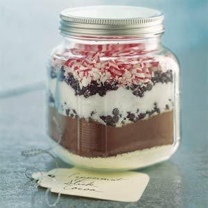 Peppermint Stick Cocoa In a Jar - Great idea for a Christmas gift.  1C Powdered Milk, 1 Cup Cocoa, 1 Cup Sugar, 1/2 Cup Miniature Chocolate Chips, 1/2 Cup Crushed Peppermint Candies, 1/2 teaspoon salt - Layer in 1 quart jar.  On back of gift card write - pour into a bowl and stir together, measure 1/3 cup into mug, pour 1 cup boiling hot water and stir.  Makes 12 servings.