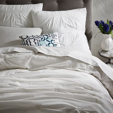 Tried to pin this earlier but guess it didn't work. I like the subtle metallic thread details and it looks similar to some of the rooms you pinned as inspiration at the beginning. Would it work with the dogs?  Metallic Smocked Duvet Cover + Shams #westelm