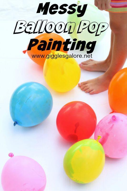 Messy Balloon Pop Painting - Fun kid friendly art activity, www.gigglesgalore.net ad
