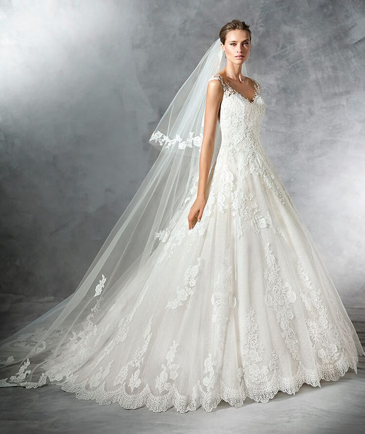 PRIMADONA - Robe de mariée en tulle, décolleté en V et jupe à coupe en A