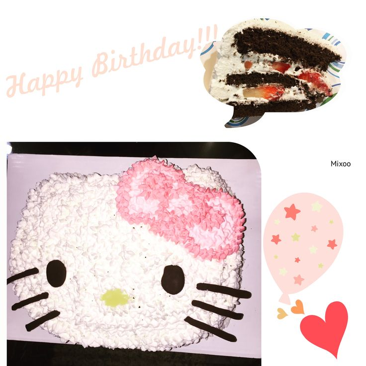 Happy Birthday to my sister @kittyny91 !!! She is not only my sister but my best as well, thank you and hope one day we can achieve our dream together!!! Love you~ 🎂 I made her a Hello Kitty chocolate Strawberry cake as her request. #HelloKitty #birthdaycake