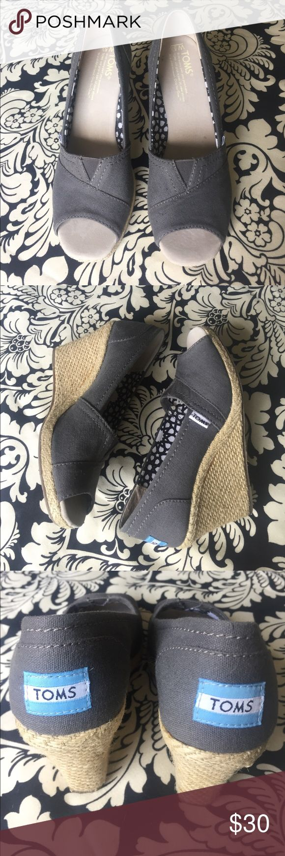 Gray TOMS Wedges Cute gray wedges size 5.5. There is some glue on the wedges as seen in last photo, otherwise  these are in excellent used condition. TOMS Shoes Wedges