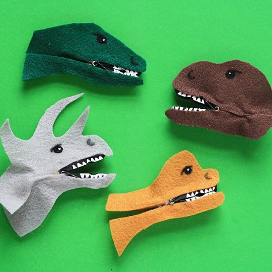 Clothespins are just the right supply to make these fun chomping dinosaurs with the kids!