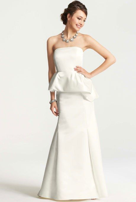 The peplum trend goes asymmetrical with this curve-creating gown, great for a bride with a boyish figure. Style 310542, duchesse-satin fit-and-flare peplum wedding dress, $650, Ann Taylor See more Ann Taylor wedding dresses.