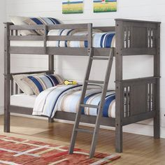 The Princeton Twin over Twin Bunk Bed has a simple modern design. Product Details: - Includes complete slats, mattress ready - Fits 2 standard size twin mattresses - Mattresses not included - Can conv