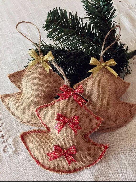 5x Christmas ornaments Christmas Tree burlap rustic by KitKosmokit