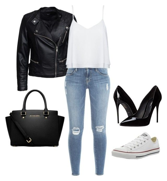 """""""Untitled #16"""" by monya-mr on Polyvore featuring Sisters Point, Frame Denim, Alice + Olivia, Dolce&Gabbana, Converse and MICHAEL Michael Kors"""