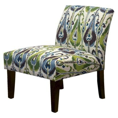 Avington Armless Slipper Chair Green Blue Brown Ikat