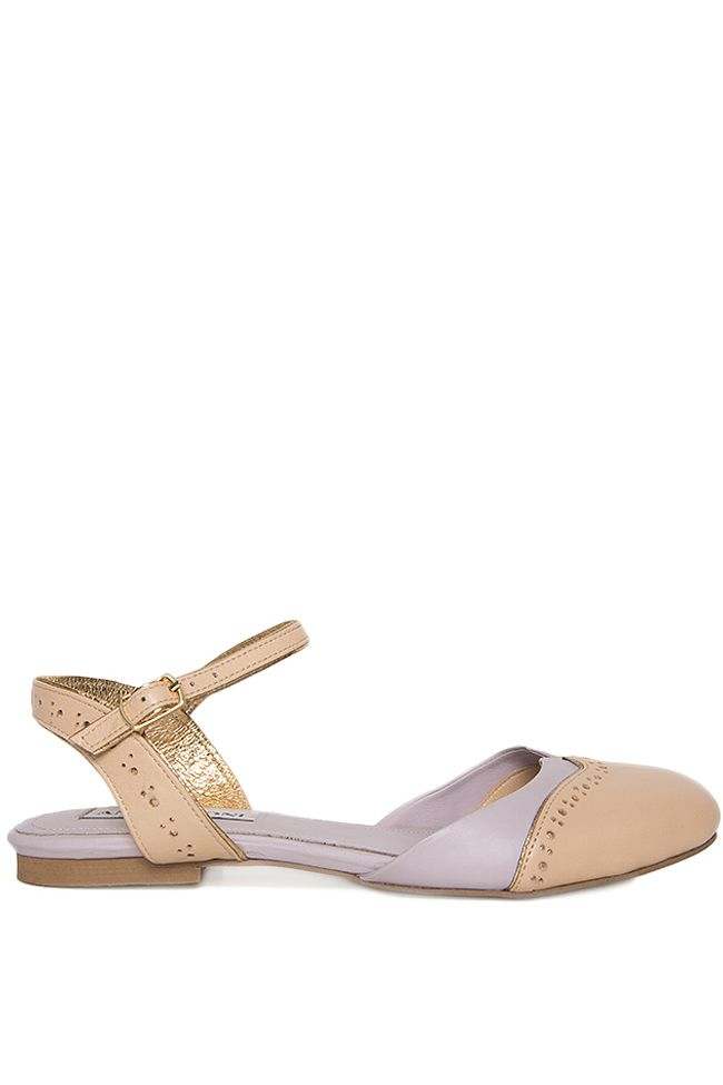 Ana Kaloni | Pantofi din piele fara toc decupati la spate | WE LOVE COUTURE