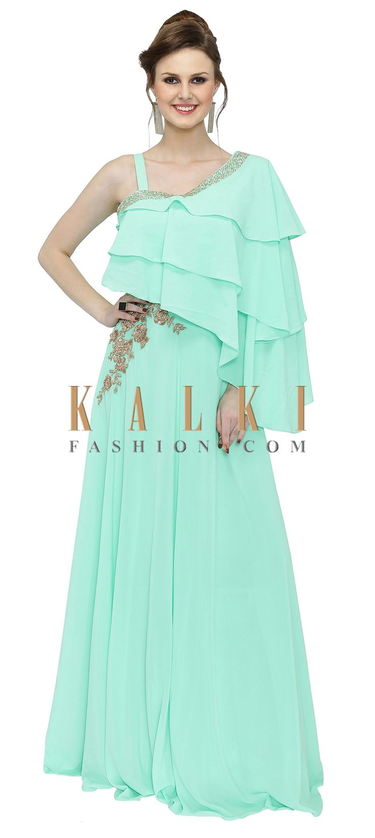 Mint Green Georgette Gown Featuring Zari Work and Tiered Bodice only on Kalki