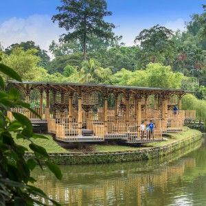 Bamboo+playhouse+by+Eleena+Jamil+built+on+a+lake+island+in+Kuala+Lumpur's+botanical+gardens