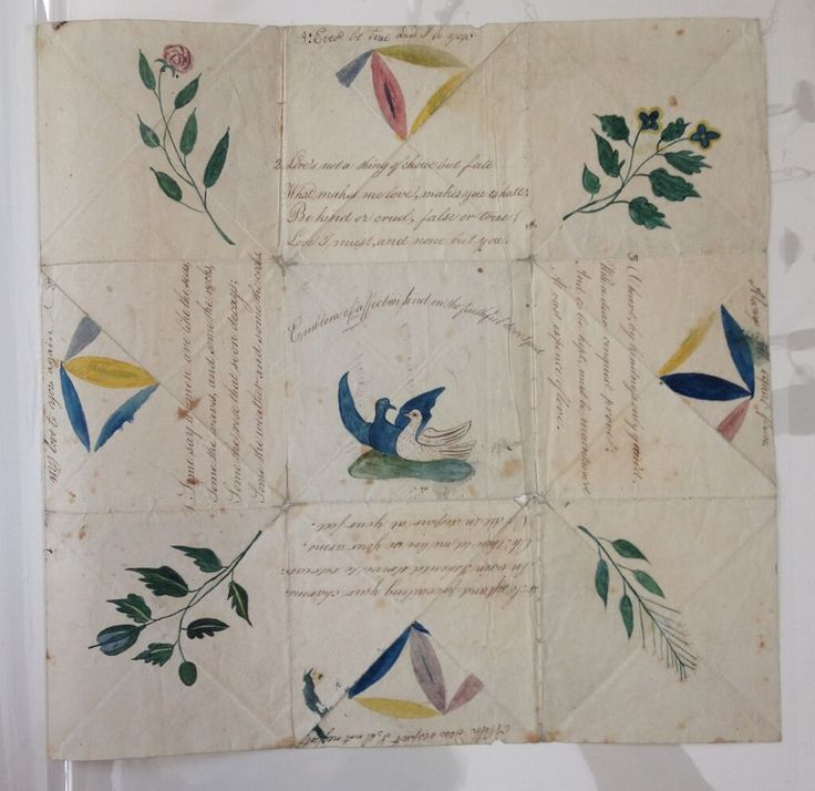 Recto of large folded puzzle purse: Emblems of Affection. Addressed to Gordonstown (Scotland) circa 1800. Hand-painted. (C) Nancy Rosin collection