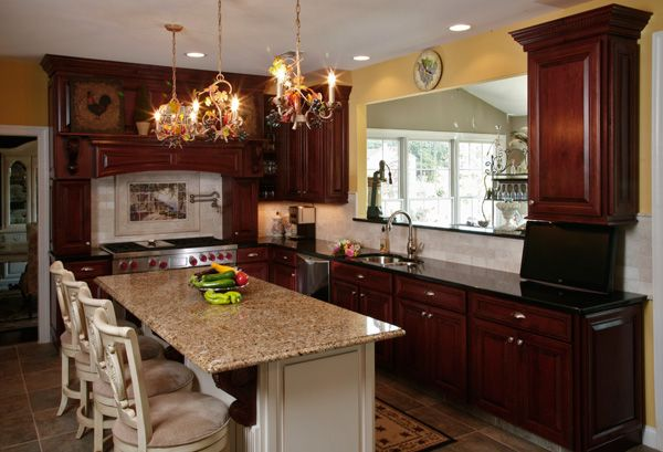 What granite countertop color looks best with cherry for Kitchen cabinet colors with black granite