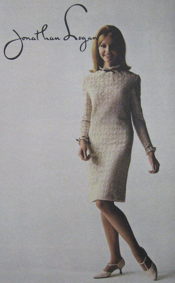 Jonathan Logan ad exemplifying the ideal mid-60s dress style, shoes, and hairstyle.