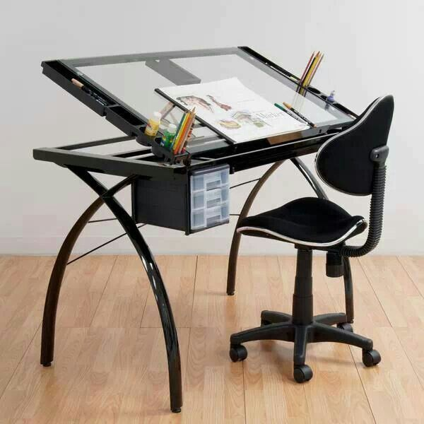 Studio Designs Futura Black/Clear Glass Drafting and Hobby Craft Station Table…