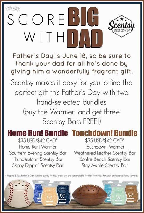 Good morning!! Mother's Day is just around the corner and we still have some amazing bundles for mom available BUT Scentsy just released some specials for dad!!!  Daddies love Scentsy too!  http://ift.tt/1MAlPiC - http://ift.tt/1HQJd81