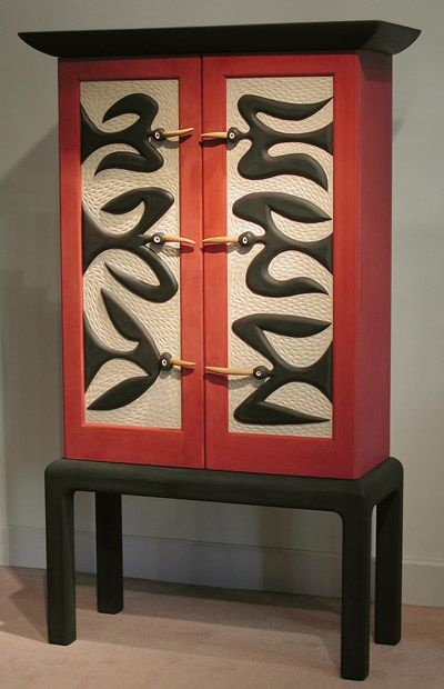 Judy Kensley Mckie Blackbird Cupboard Carved And Painted Basswood Wood Furniture Pinterest