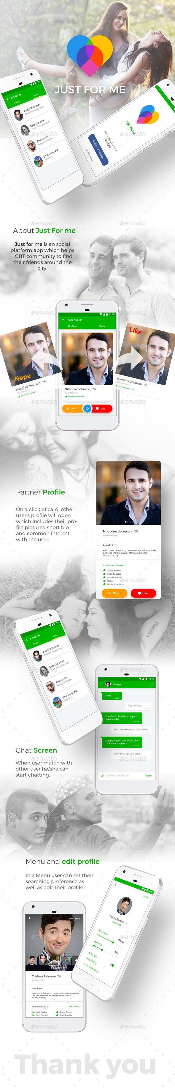 Dating App User Interfaces Kit like Tinder | Just For Me for Android + iOS  #uidesign #mobileui #appui