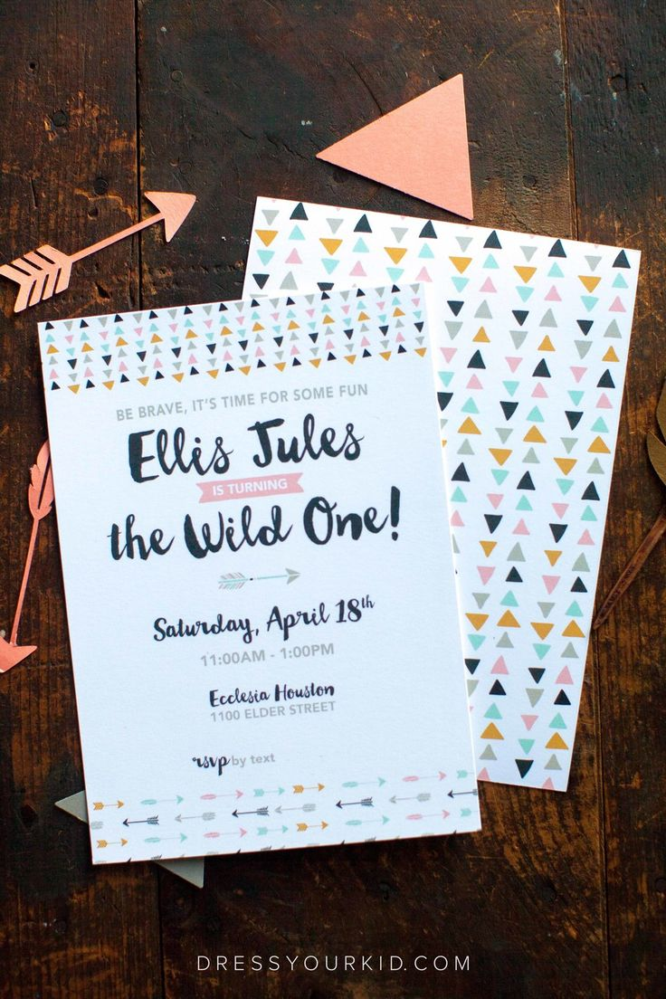 Ellis is a Wild One | Aztec, Feathers, Teepee, Coral, Mint, Gold, Black, Triangles, First Birthday