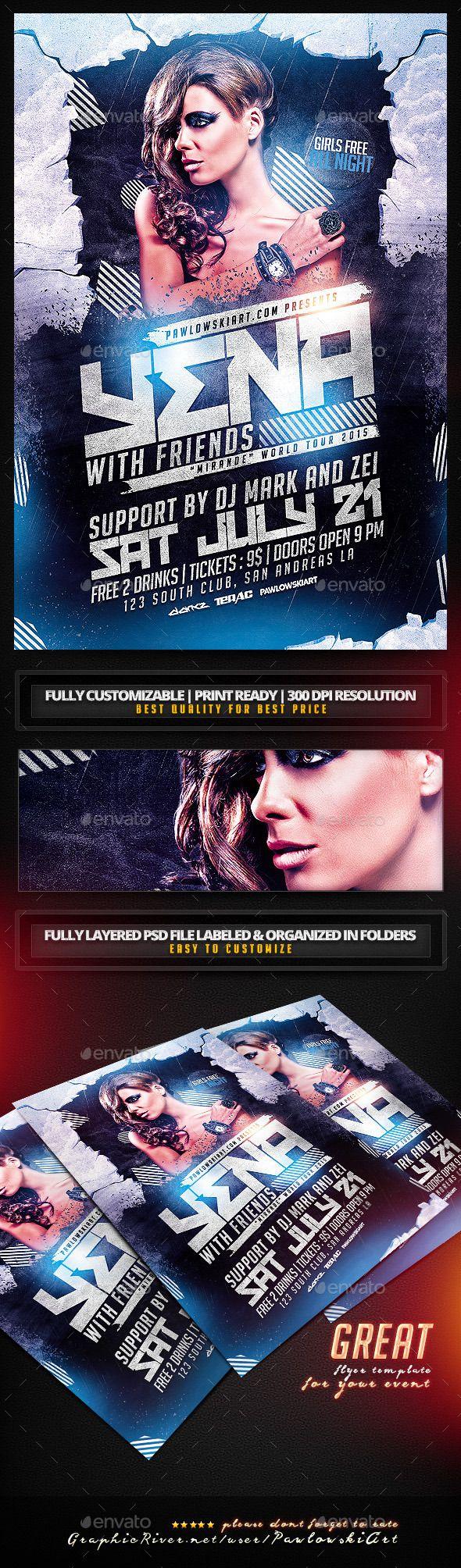 Album Promo DJ Mix PSD Flyer Template - Clubs & Parties Events