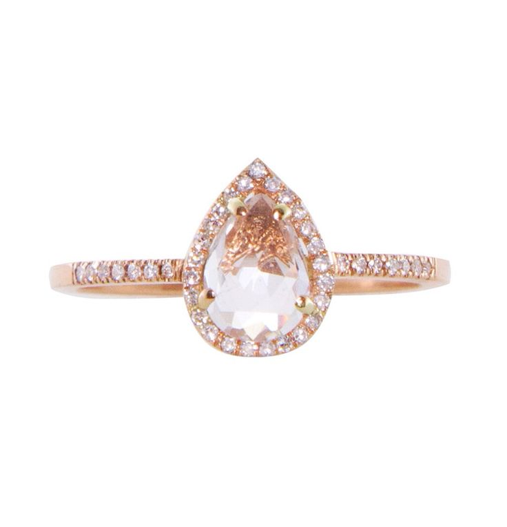 14kt rose gold white topaz and diamond teardrop ring – Luna Skye by Samantha Conn