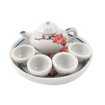 Ceramic Birds Plum Blossom Printed Mini Plate Teapot Cup Tea Set