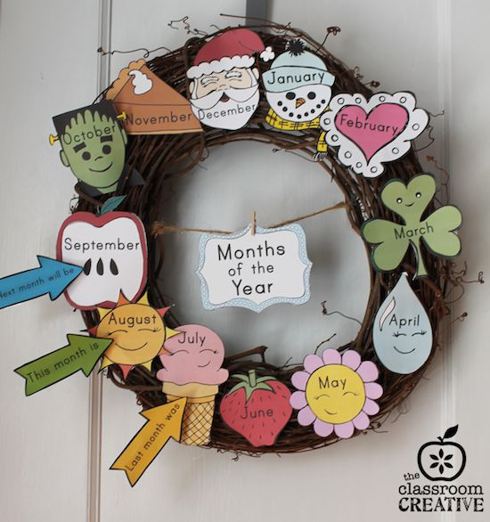 month of the year chart as interactive wreath from theclassroomcreative.com