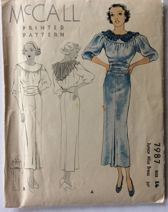 McCall 7987 vintage 1930's misses dress with ruffles sewing pattern size 16 bust…