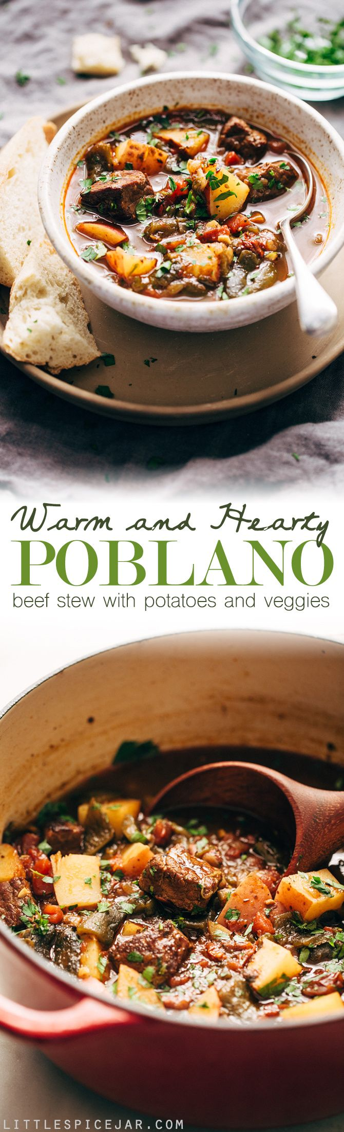Hearty Poblano Beef Stew - a beef stew that's been amped up with roasted poblanos and chipotle peppers! So good you'll forget about your old stew recipe! #beefstew #stew #poblanobeefstew | Littlespicejar.com (Whole 30 Mexican Recipes)