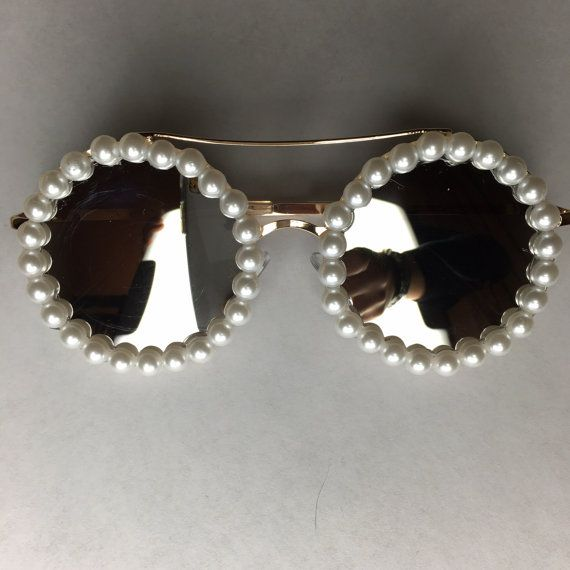 Paris Pearl Glam Round Sunglasses by ObsessedShades on Etsy