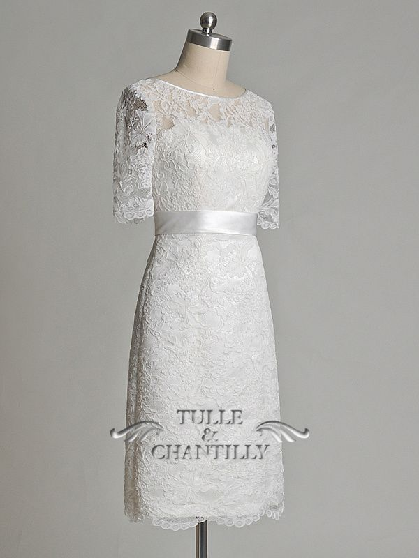 Unique Illusion Neck Short Soft Lace Wedding Gown With Sleeves 1 tulleandchantilly.com $337