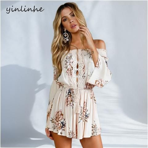 d9179f03cfb4 yinlinhe White Off Shoulder rompers women jumpsuit 2018 Summer Playsuit  overall long sleeve Hollow Out Sexy