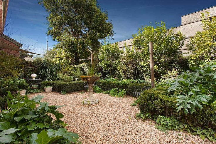 back  yard with formal and informal plantings