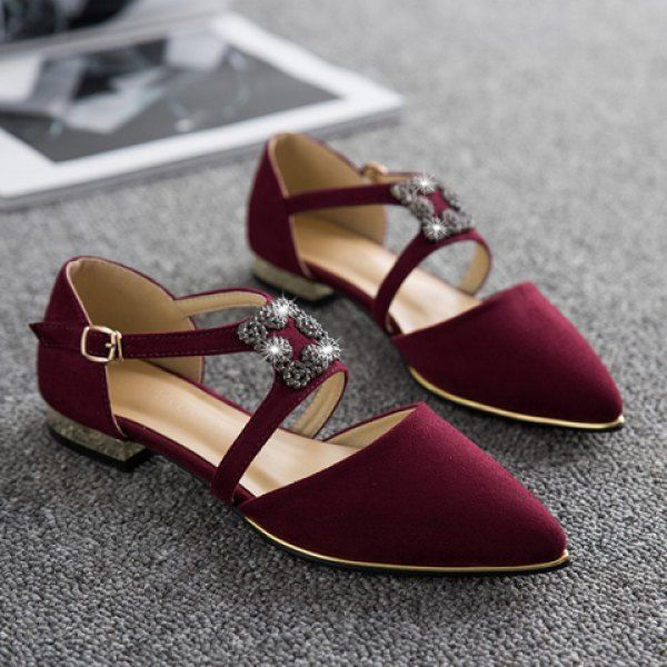 Elegant Metal and Flock Flat Shoes ==