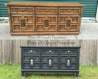 Piece Of Candy Furniture: Old World Look For Deep Gray Dresser.