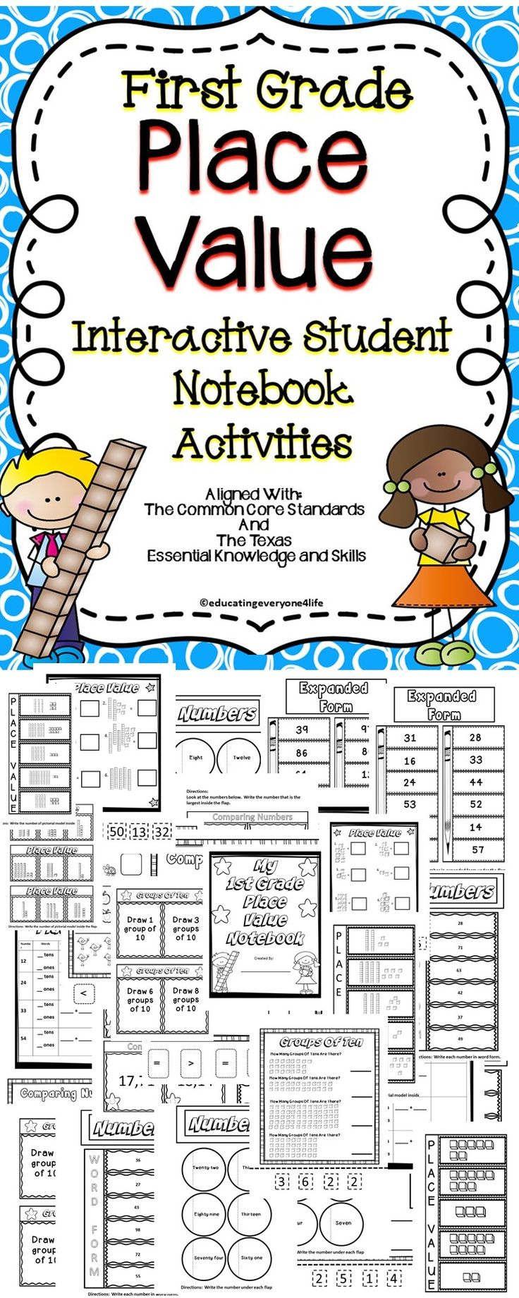 Place Value Interactive Student Notebook For First Grade - This is a fun place value resource for first graders. Students will take pride and ownership while creating their place value interactive notebook! This Interactive Notebook is a great way to get students excited while learning all about place value! #math