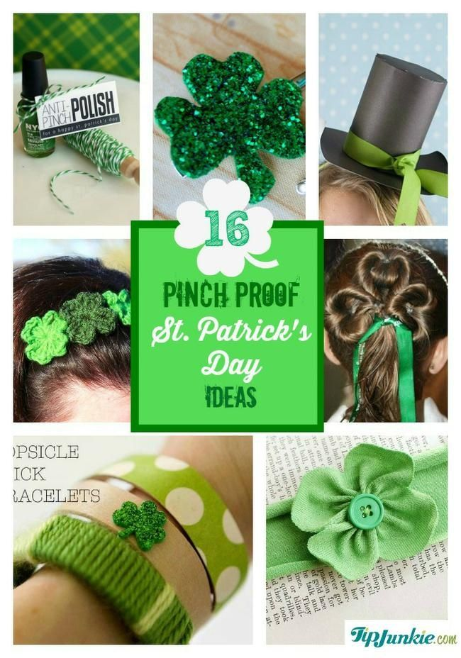 St. Patrick's Day is March 17th and to make it really easy for you to celebrate, here are pinch proof ideas for St. Patrick's Day which will keep your little leprechaun from getting pinched.  You'll love some of these St Patricks Day crafts that include pinch proof badges, shamrock hair accessories, leprechaun hat, shamrock hair do, St. Patrick's Day t-shirts, skirt, rainbow necklace and even baby leg warmers.  No one will be getting pinched with these ideas!