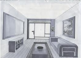 The is image is a one point perspective picture that shows for 3d bedroom drawing