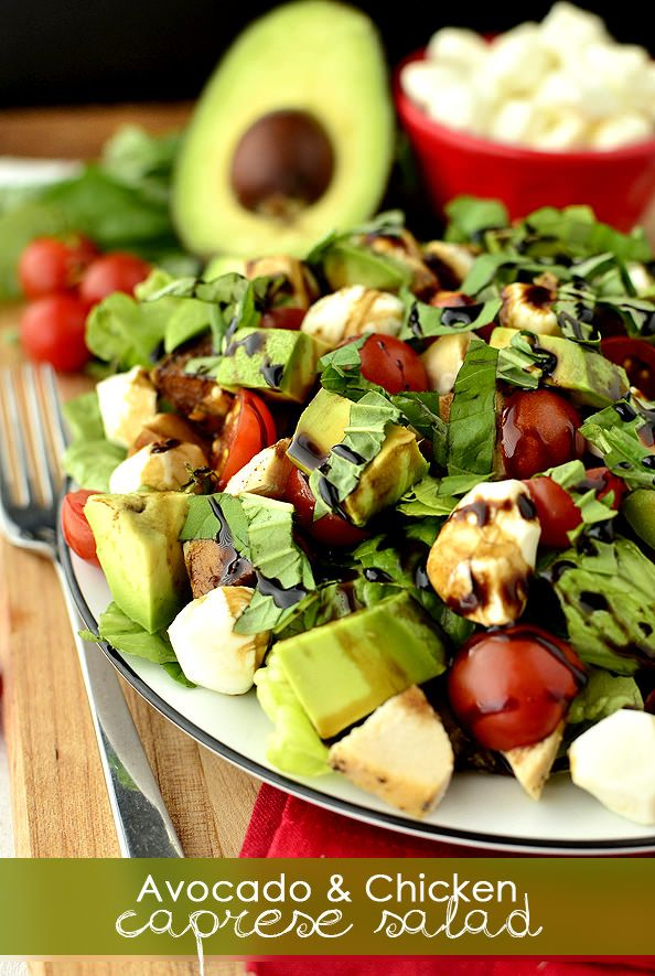 Avocado and Chicken Caprese Salad