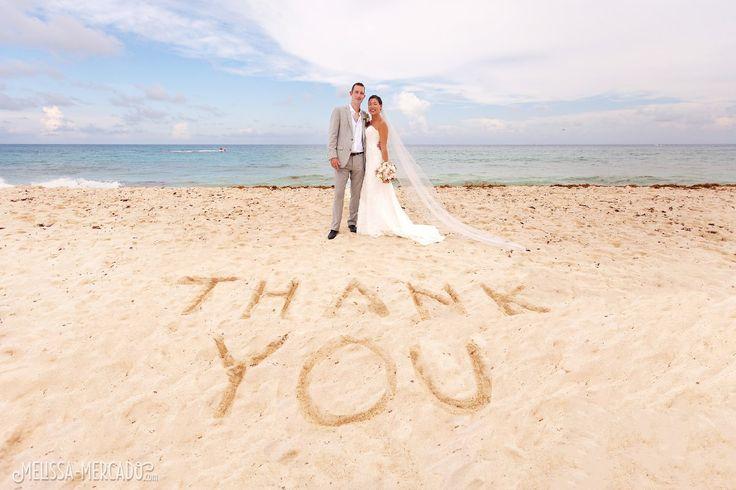 thank you beach wedding idea, destination wedding photography, melissa-mercado.com
