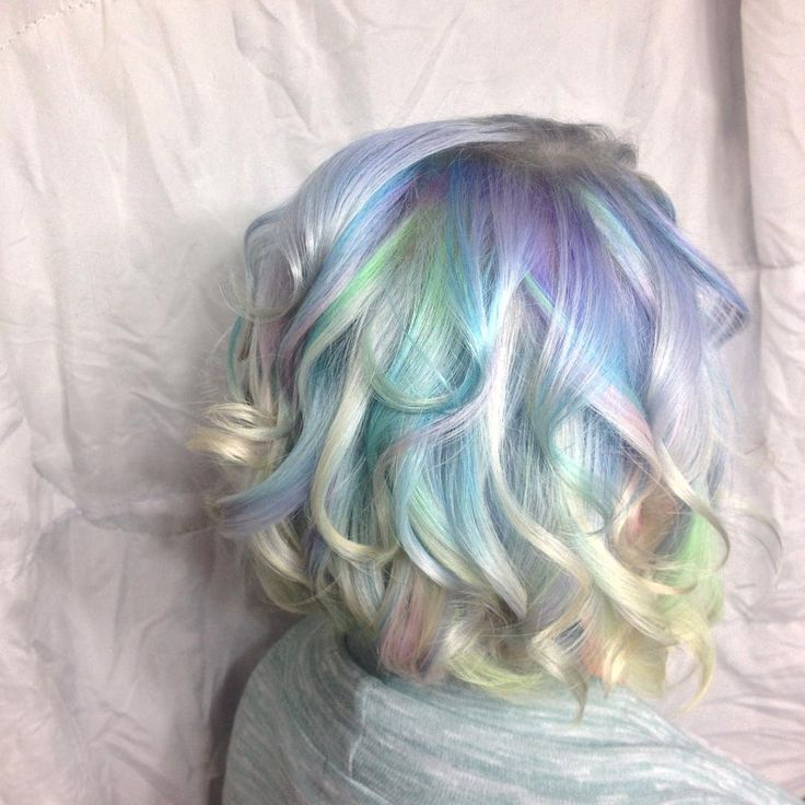 Opal Hair by Jesseline in London, Ontario, Canada @colournkutz_by_jesseline #opalhair #unicornhair #instahair Purple Violet Red Cherry Pink Bright Hair Colour Color Coloured Colored Fire Style curls haircut lilac lavender short long mermaid blue green teal orange hippy boho ombré Pulp Riot