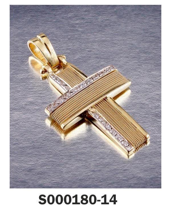 Cross yellow Gold 18-k Stones: Diamonds